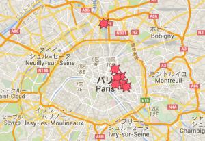 パリ テロ 場所 位置 地図